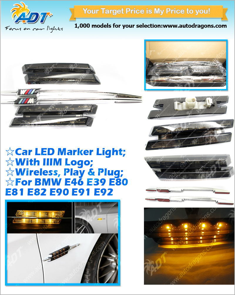 Smoked Amber For BMW LED side Marker turn signal lamps