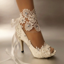 Real Open Toes Lace Crystals Women Lace Up Ladies Plus Size 2017 High Heel Bridal Wedding Shoes EU34-42 MS1024