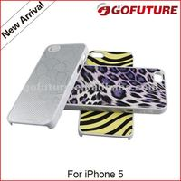 Factory supply, hybrid hard PC with learther sticker cell phone cover for iphone 5