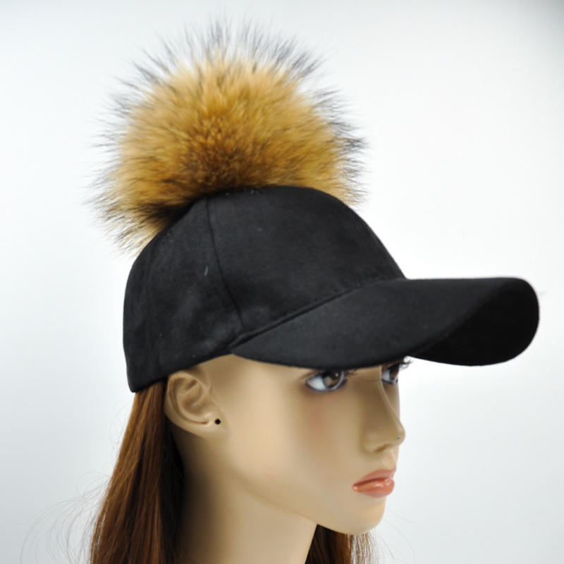 New Fashion Custom Unique Style Leather Suede Cap Raccoon Fur Ball Pompom Black Suede Baseball Cap