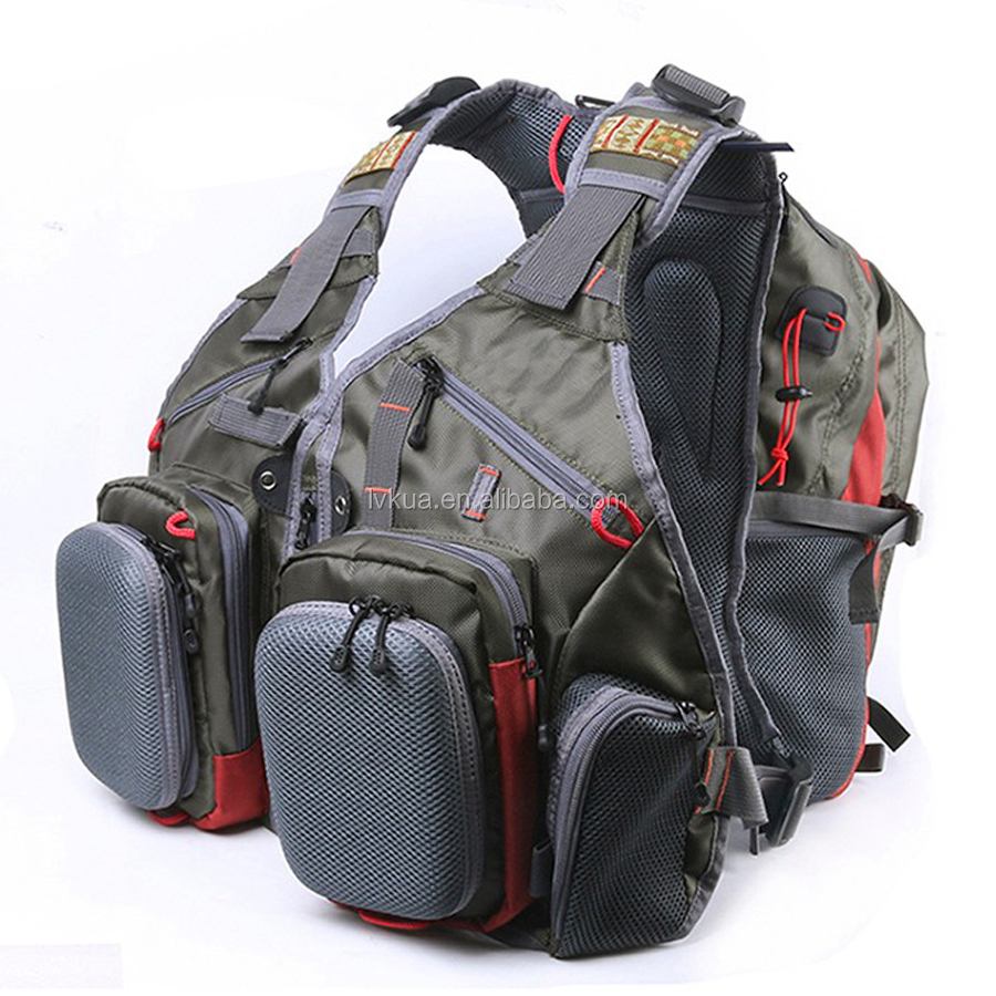 Top Quality Waterproof Fly Fishing Vest With Multifunctional Pockets Adjustable Fishing Vest Backpack with 2 Side Bags