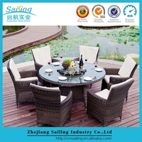 Easy Cleaning Rattan Dining Set Fast Food Restaurant Table And Chair
