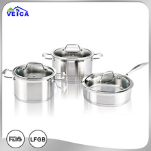 6pcs Straight shape encapsulate bottom Body satin polishing and cast s.s. handle induction cooker