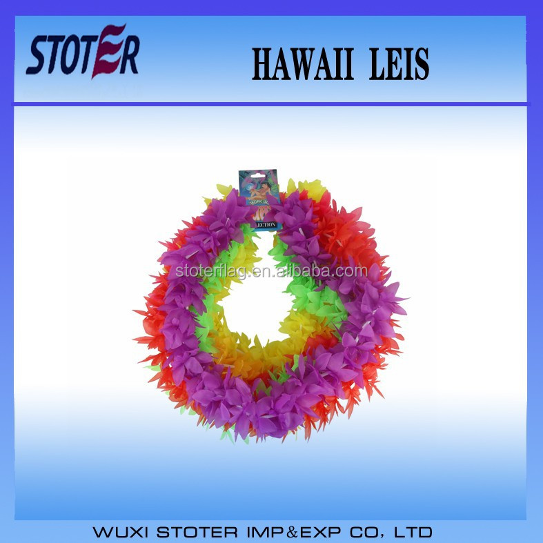 Wholesale Promotional Colorful Hawaii Lei , cheap hawaii leis