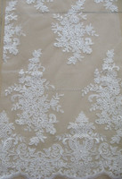 Vintage ivory White Allover Nylon Elastic Lace/Newest Floral Ivory Bridal Wedding Fabric Lace Fabric/Pearls Beaded Embroidery