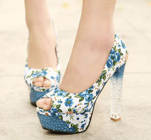 D20741Q 2014 NEW DESIGNS FASHION FLORAL PRINTED HIGH HEEL WOMEN'S SINGLE SHOES