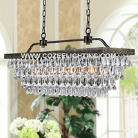 Vintage Rustic Cristal Lampara Pendant Lights Retangular Chandelier Crystal Chandeliers Hanging Lighting Fixture CZ2533IR