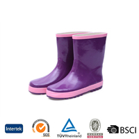 2016 lightweight unique style cheap kids flat sole purple rubber rain boots