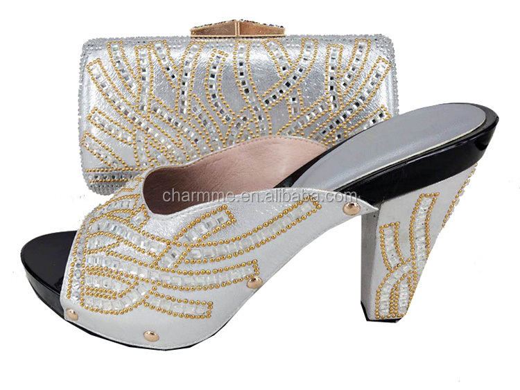 2017 women shoes and bag italian shoes and bag with stones for ladies to attend the party