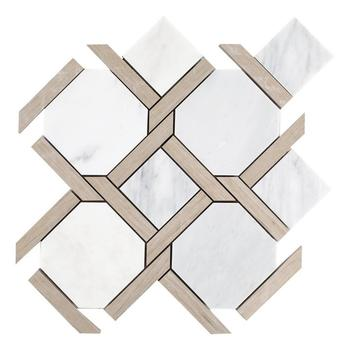 Decorstone24 Wood Look Marble And Carrara White Stone Octagon Marble Mosaic Tile