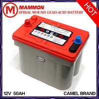 Camel brand Spiral Lead Acid DIN MF 12V 50AH batteries for cars