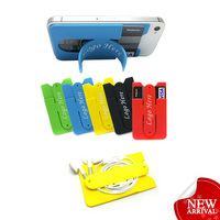 Silicone Mobile Phone Holder Stand With Snap Card Sticker (available in the most cell phone brands)