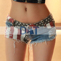 Sexy Low Waisted Girls American US Flag Mini Denim Jeans Shorts