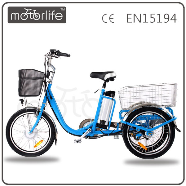 MOTORLIFE/OEM hot sale 36v 250w 24inch e-tricycle, christmas gift three wheel eletric bike for old people