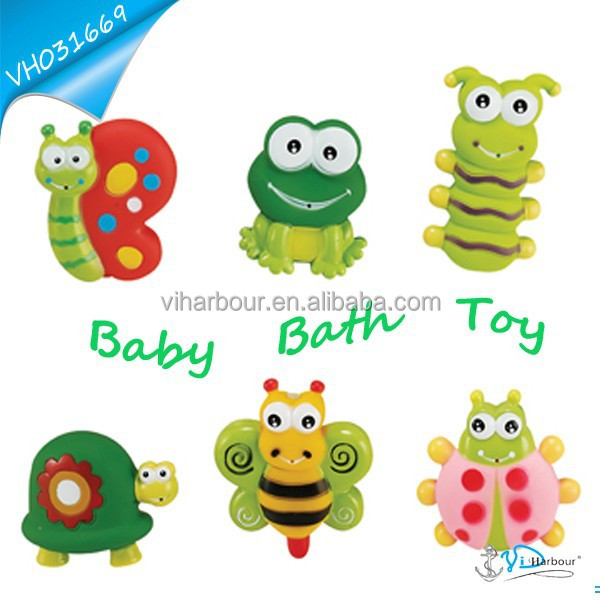 Small Insect Frog And Rubber Turtle Baby Bath Toy Set