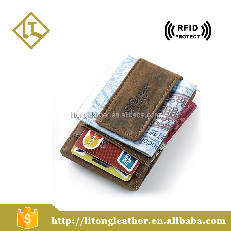RFID Blocking Crazy Horse Leather durable thin mens Money Clip leather Wallet with magent 2016