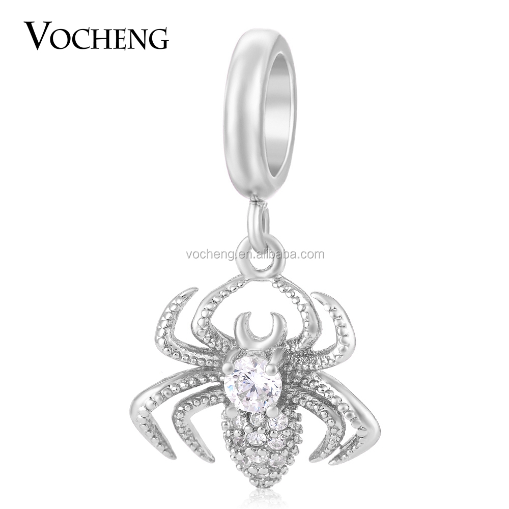 Vocheng Spider Charm 3 Colors Brass Inlaid Zircon Crystal Not Fade Interchangeable Dangle Jewelry Accessory VC-153