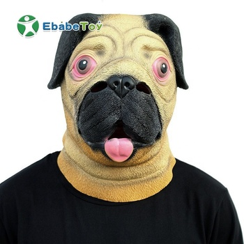 High quality Animal Face Mask Happy Dog Mask Latex Hoods halloween fancy dress latex animal head dog mask
