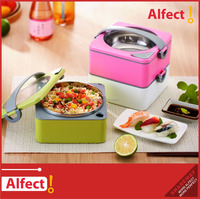 Two layers Stainless steel heated stackable Bento lunch box