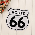 Irregular shape US 66 metal plate sign