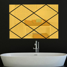 Removable Acrylic 3D Mirror Diamond Wall Sticker Home Decoration TV Background Living Bedroom Bathroom Wall Papers Decals