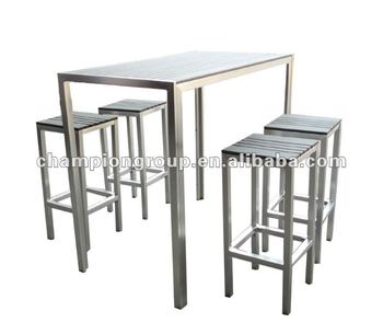 Outdoor bar table chair with aluminum frame and polywood for Table 6 in as 3725