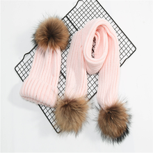 Custom one set beanie hat and scarf with big fur pom women/kid mufflers knitted warm scarves