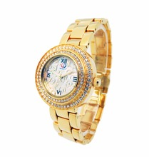 Cheap fashion alloy gold lady fasion watch