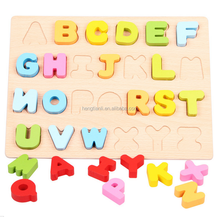 Children 's Wood Puzzle Digital Alphabet Cognitive Handrail Board Early Educational toy