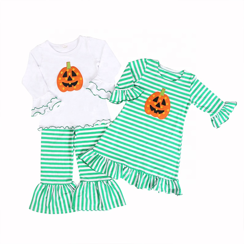 wholesales girls toddlers baby clothing pumpkin applique 2pc set Halloween 2pc set