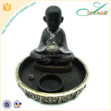 resin little monk Incense Burner with candle holder