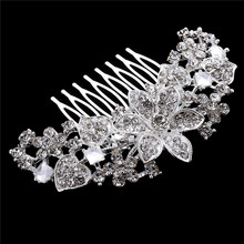 Trendy Silver Rhinestone Crystals Hairpin Crowns Tiaras Wedding Bridal Flower Hair Comb For Women Bride Hair Jewelry Accessories