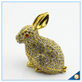 Handcraft Metal Rabbit Shape Trinket Box Full Of Rhinestone Lucky jewelry Box SCJ688-1