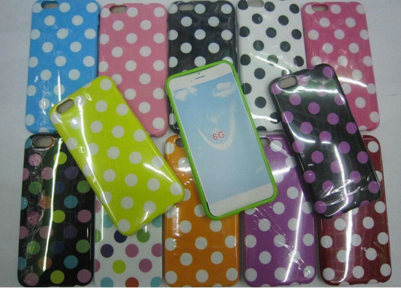 Colorful TPU Ultralight Soft Polka Dot Protective Back Cover Case for Iphone 6, 4.7 inch