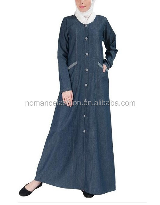 ethnic denim abaya muslim dress