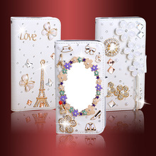 Diamond encrusted Handmade PU Phone Case/Protection Cover With Mirror