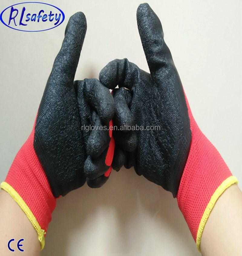 wood <strong>industry</strong> cheap price 13g red poly coating black latex gloves/working gloves/safety glove
