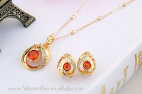 18k gold plated jewelry set Rhinestone Women Pendant Necklace Set