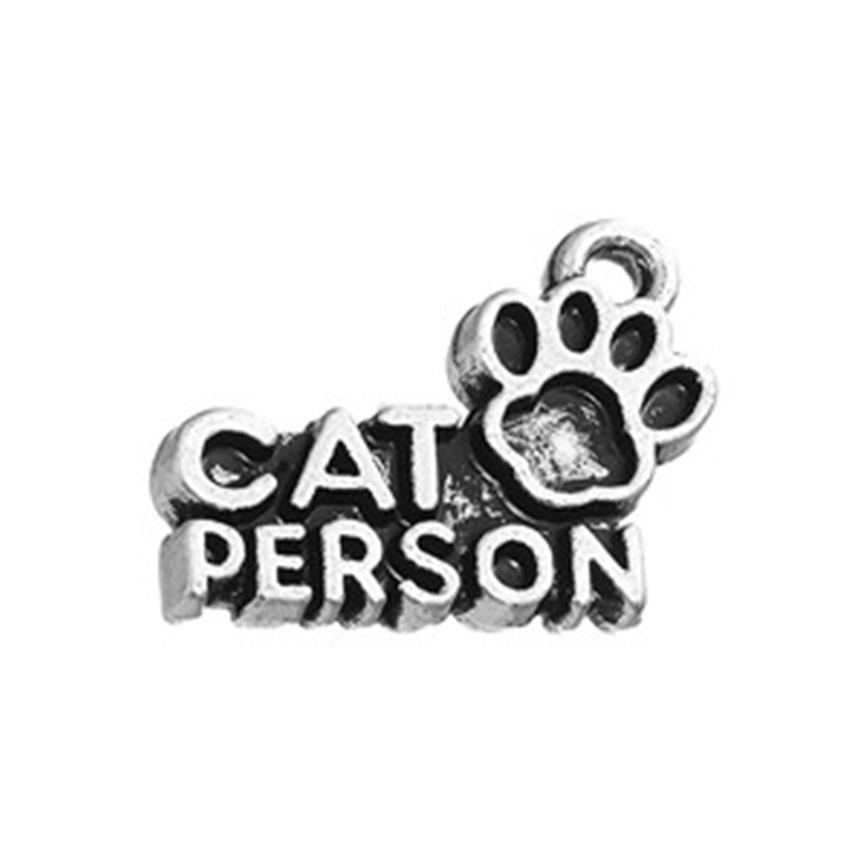 Personalized Zinc Alloy Antique Silver Plated Cat Person with Paw Print Charm