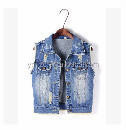 New arrival women sleeveless denim jacket denim vest wholesale