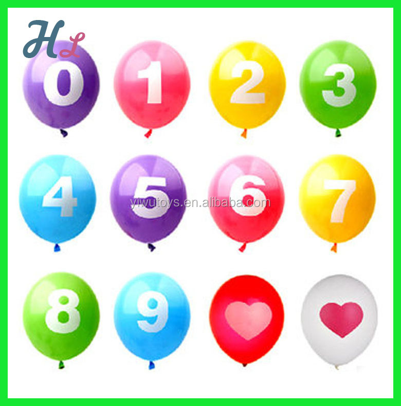 colorful new year promotional number latex party balloon