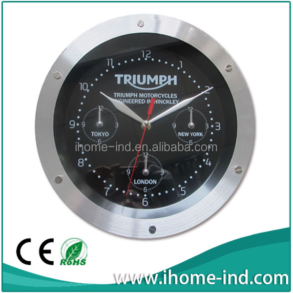 high grade world time wall clock show 3 time zone world