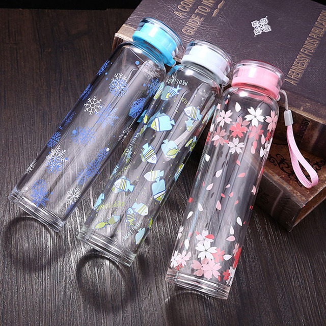 2017 New Arrival Outdoor Sports Water Bottle Single Wall Crystal Glass Water Bottle