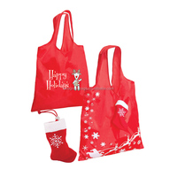Promotional Eco Friendly 190T polyester Reusable Christmas folding with Santa Sock string pouch