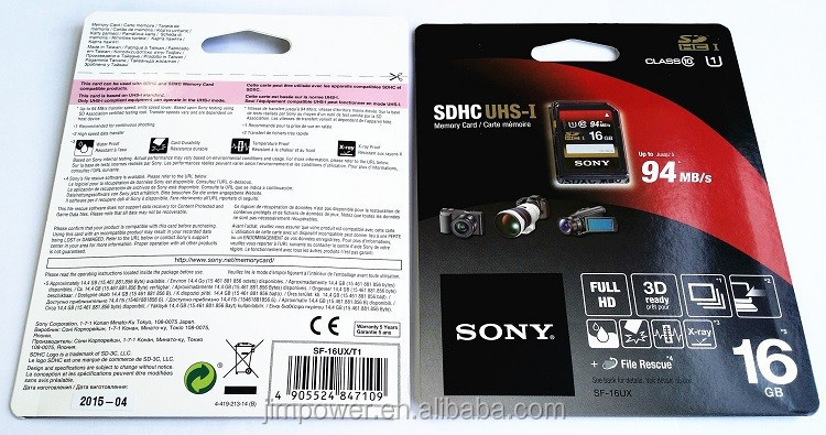 Sony Expert, cl10 UHS-I R94 SD card 16GB Memory Card