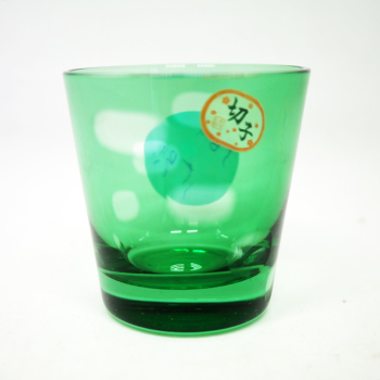 Hot 65ml Wholesale Green Colored Engraved Glass Tumbler Tea Cup