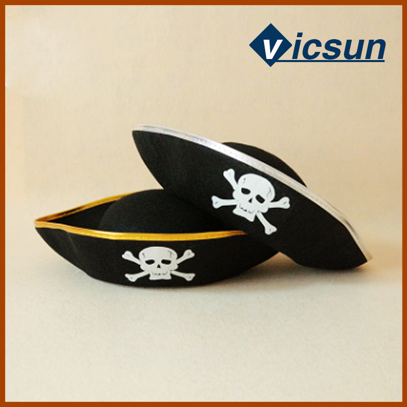 black polyesters captain hat ghost pirate hat masquerade toy decoration