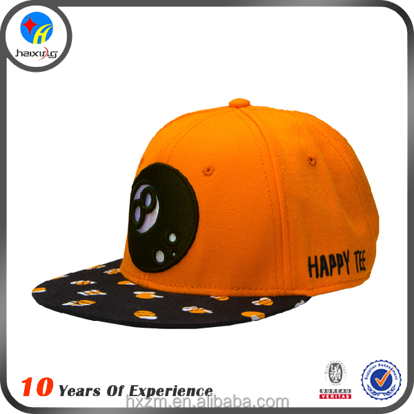 orange caps with embroidery animals snapback caps for kids