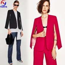 2018 trending products new fashion fancy ladies black office cloak woman blazers suits