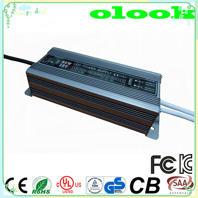 High Efficiency 60w LED Driver IP67 Transformer 220V to 24V waterproof Power Supply